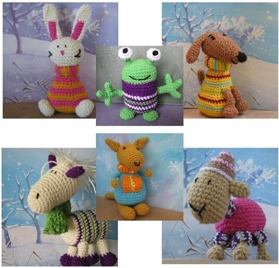 Any 3 of my crochet toy or finger puppet patterns. pdf file with photos and email support. By twinklekids on etsy