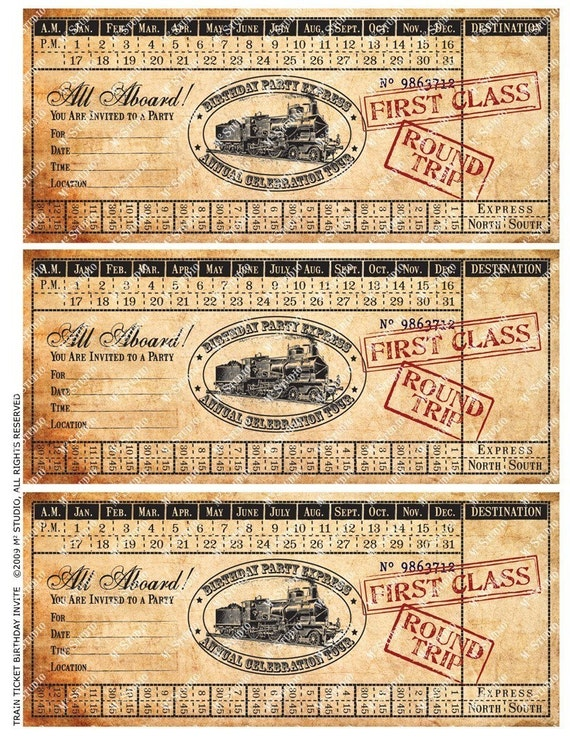 Printable Vintage Train Ticket Birthday Invitation