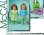 Sale! DOLL CLOTHES PATTERN For American Girl / Carrier / Pajamas / Sleeping Bag / Slippers