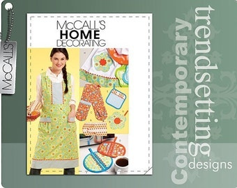 SALE! KITCHEN PATTERN / Make Apron - Potholders - Over Mitts - Two Hand Mitt - towels