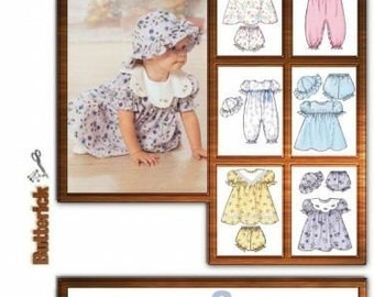 BABY CLOTHING PATTERN - Adorable Dress or Romper with Matching Hat