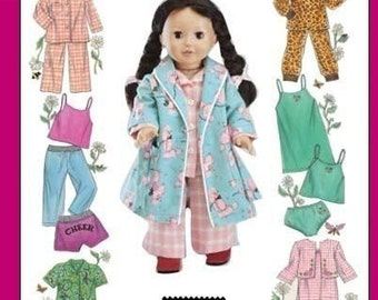 DOLL CLOTHES PATTERN - Fits American Girl / Robe - Pajamas - Underwear - Sleepwear / Forties Styles