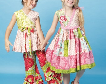 GIRLS CLOTHES PATTERN / Make Dress - Top - Pants / Sizes 2 - 5 Or 6 - 8 / Boutique Style