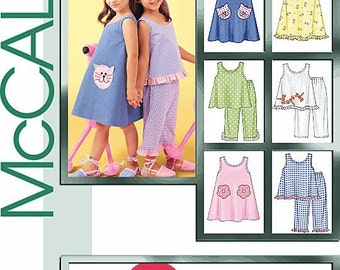 SUMMER CLOTHES PATTERN / Girls Sundress- Top - Pants In Sizes 3 To 5 Or 6 To 8