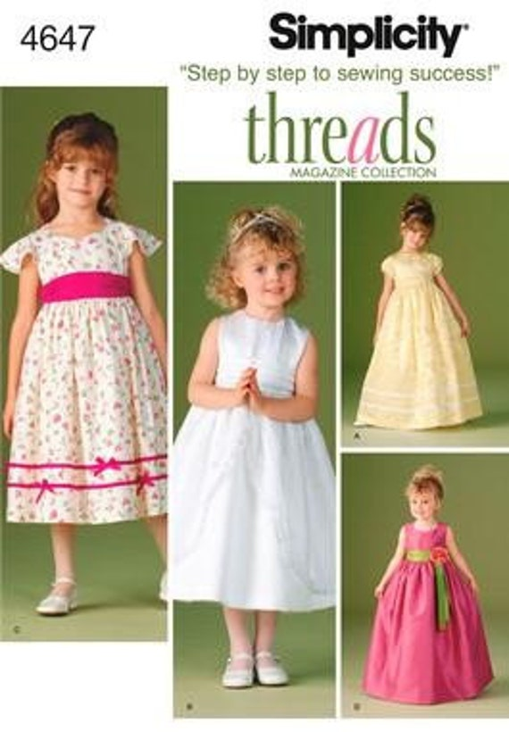 Flower Girl Pattern Fancy Dresses For Little Girls In Sizes