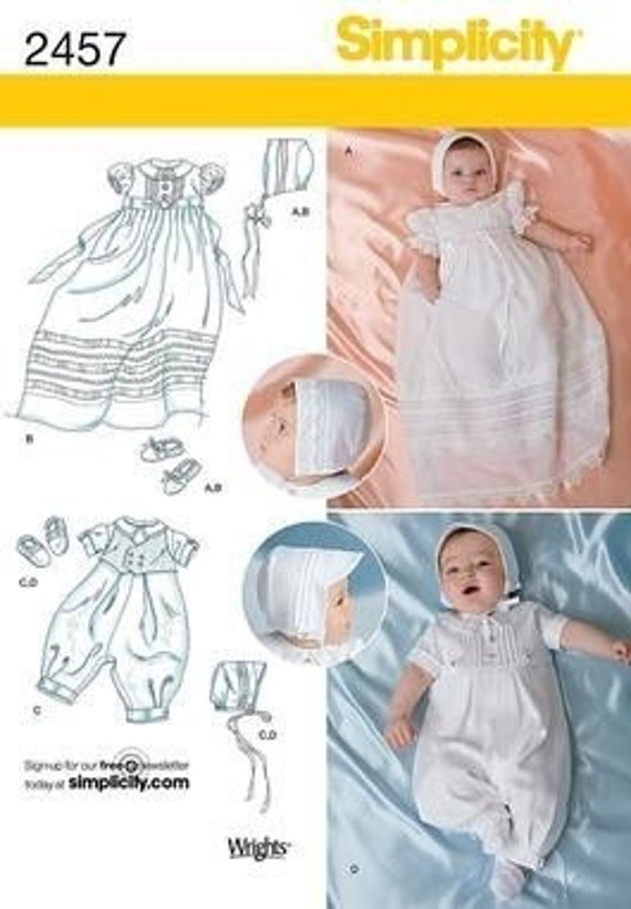 BAPTISM OUTFITS PATTERN! Retired / Boy - Girl Gown And Romper / Preemie to 21 Pounds