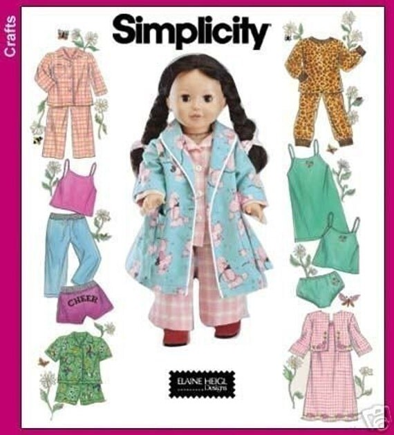 Doll Clothes Pattern Fits American Girl Robe Pajamas