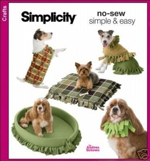 No Sew Fleece Dog Beds Coats Collar Sewing Pattern In