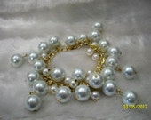 White Large Pearl Bracelet - Inspired by 2 broke girls Caroline's necklace