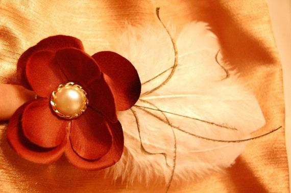 ALYSSA    Flower and Feather Hair clip