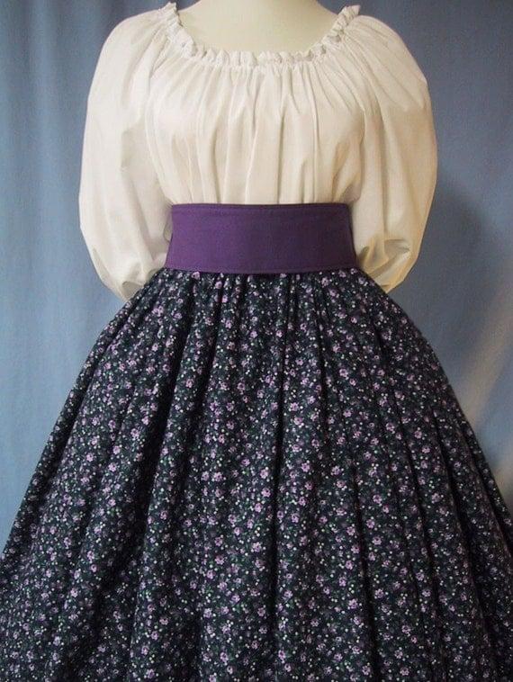 Pioneer Costume - Long Skirt - Colonial, Frontier, Victorian, Civil War Reenactment - Purple Floral on Navy Cotton Print - Handmade