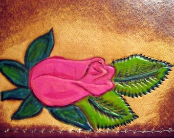 Leather Hand Carved Rose Card Wallet