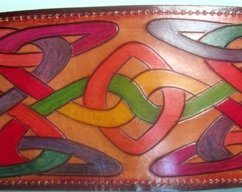 Leather Single Fold Wallet with Hidden Pocket Nice Hand Carved Colorful Celtic Design Made in GA USA