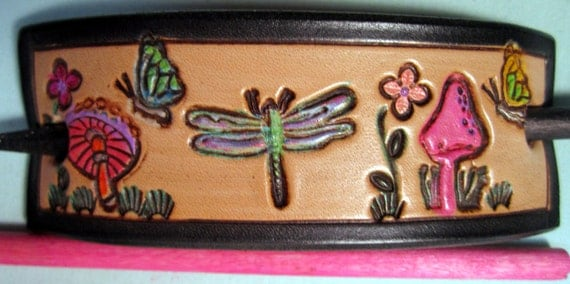 Beautiful Black Border  Leather Hair Barrette With Dragon Fliy Mushrooms Butterflies and Flowers