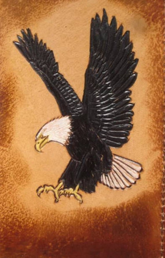 Burnished Brown Leather Regular Check Book Cover with Hand Carved Eagle