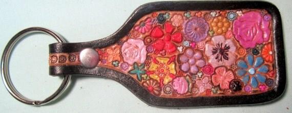 Leather Flower Garden Key Fob with Black Border