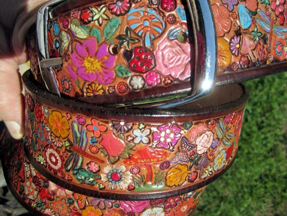 Leather Belt with Chocolate Brown Border and Flowers Mushrooms Dragonflies Butterflies and Lady Bugs OOAK Custom Sized