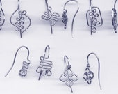 Symbol Jewelry Findings, 5 Pairs Adinkra Symbol Ear Wires Non-Tarnish Silver Parawire