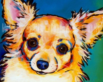 Long Coat Fawn Chihuahua Print 12x12