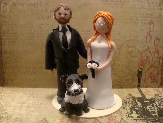 custom bride and groom with dog wedding cake topper reserved for pazzie1