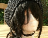 Crochet Hat - The Classic Slouch in Black Glitter - Women's Hat Spring, Fall Accessories