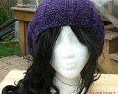 Handmade Hand Knit Hat - Elfin in purple - Unisex slouchy hat - Spring, Fall, Winter Accessories