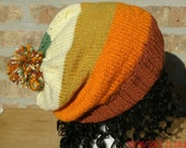 Knit Hat - The Colorway Hat Terra Cotta - Rasta - Unisex Slouch Hat Fall, Winter Accessorites