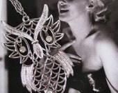 Unusual Vintage Silver Owl Necklace