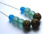 I CAN'T WAIT antique african brass and aqua/marine blue glass bead necklace
