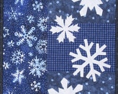 Art Quilt Wall Hanging - Winter Snowflakes in Blue and White