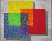 "Modern Art Quilt Wall Hanging - ""Intersecting Colors"""