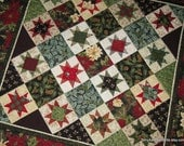 "Quilted Wall Hanging - Christmas Sawtooth Star Quilt in Red, Green, Gold and Cream - 38"" x 38"""