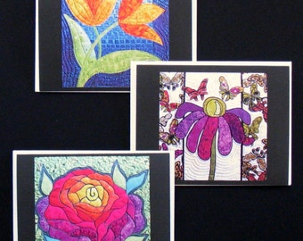 Art Quilt Note Cards - Set of 3 Floral Cards