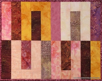 Art Quilt Wall Hanging - Geometric Batik Warm Color Study