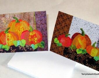 Art Quilt Note Cards - Set of 2 Pumpkin Cards - Celebrate Fall Autumn Harvest Halloween Thanksgiving