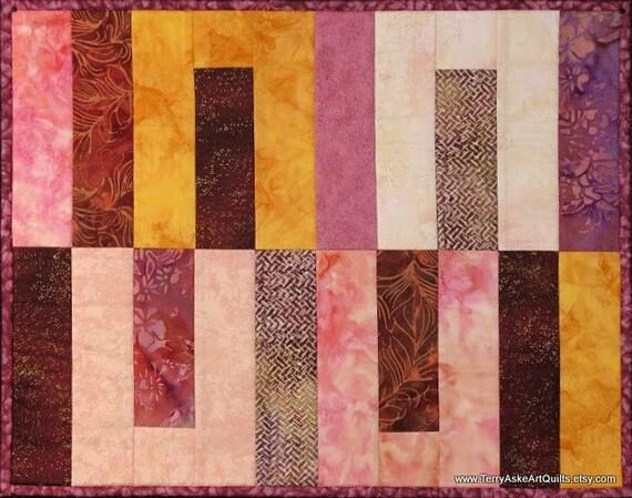 Art Quilt Wall Hanging - Geometric Batik Warm Color Study