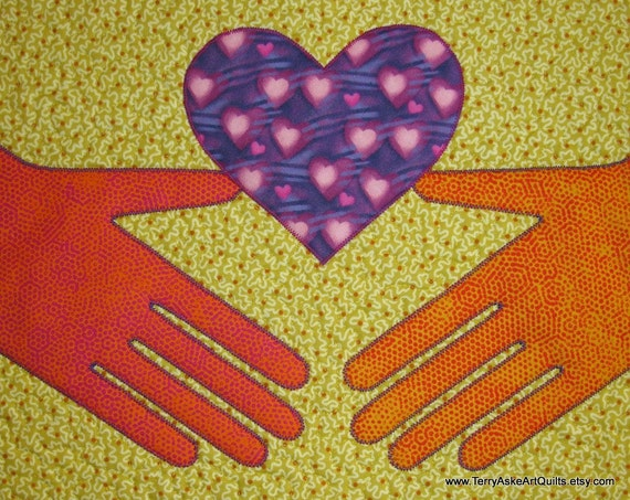 """Quilted Wall Hanging - """"I Give You My Heart"""""""