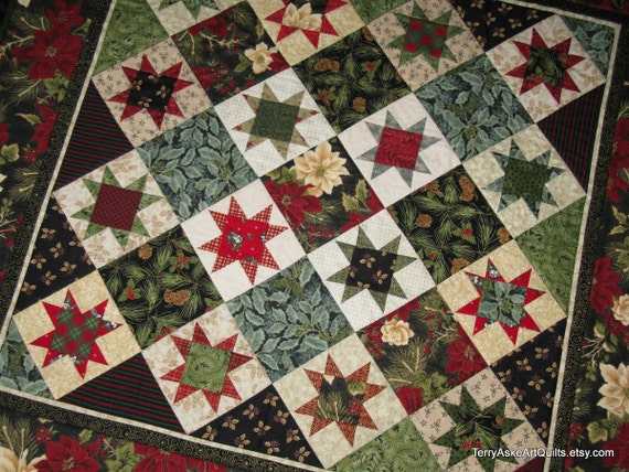 """Quilted Wall Hanging - Christmas Sawtooth Star Quilt in Red, Green, Gold and Cream - 38"""" x 38"""""""