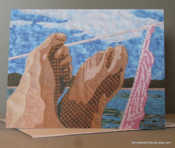 Art Quilt Note Card - Gone Sailing