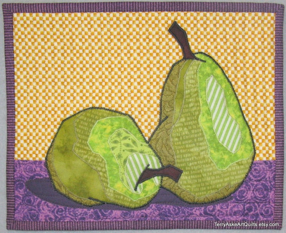 """Art Quilt - """"Two Pears"""" - Mini Wall Hanging"""