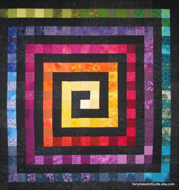 Art Quilt Wall Hanging - Rainbow Square Spiral