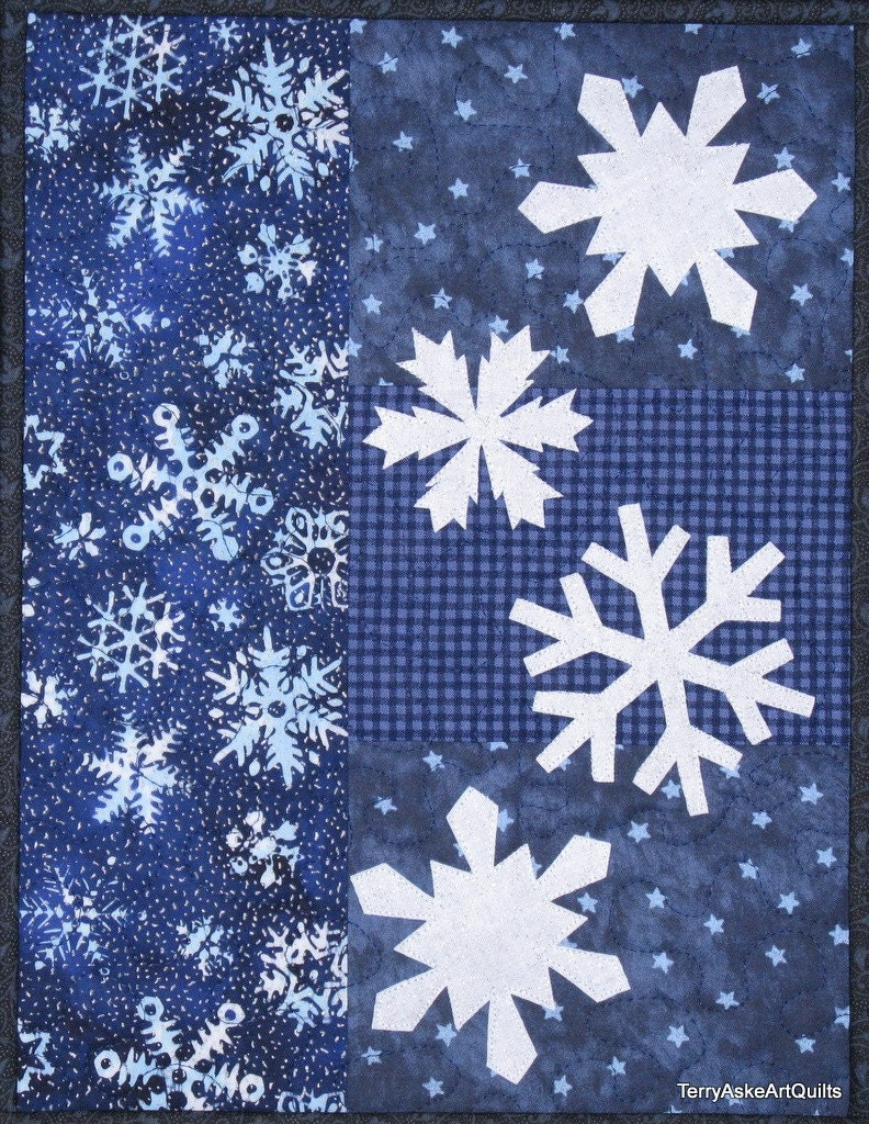 Art Quilt Wall Hanging Winter Snowflakes In Blue And White