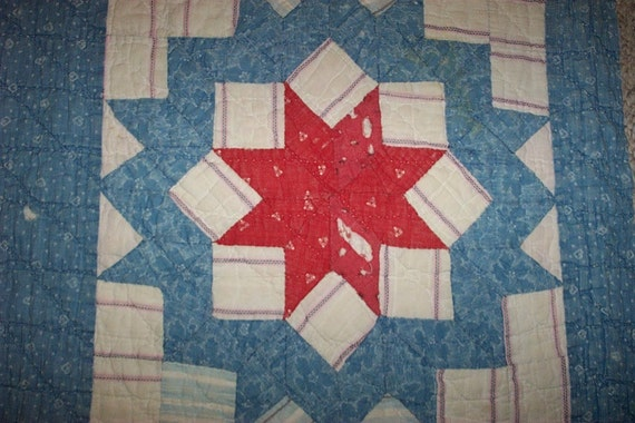 Large Antique Cutter Quilt Piece,Beautiful Early Indigo Blues