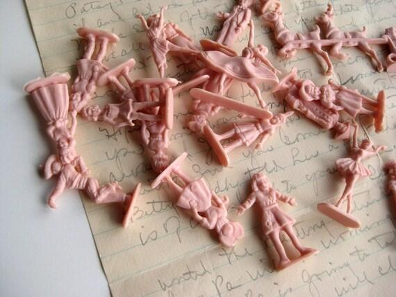 Vintage Pink Plastic People Figurines - Pick 6
