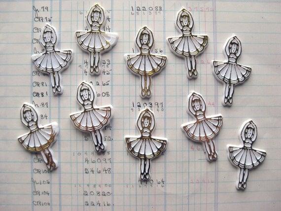 Set of 10 Cute Vintage Plastic Ballerina Cabochons