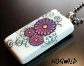 Scrolled Flowers Domino Tile Pendant