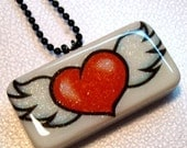 Winged Heart Domino Pendant