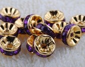 Vintage 10 Gold Plated Purple Amethyst Crystal 8mm Spacer BeaDS GR8