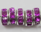 Vintage 10 Silver Plated Deep Rose Crystal 8mm Spacer Beads GR8