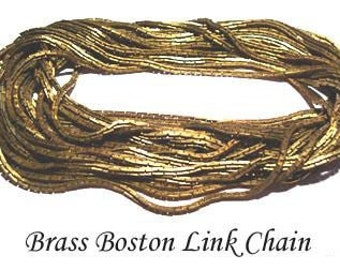 Vintage 4 Feet Solid Brass Boston Link 2mm Chain AM5